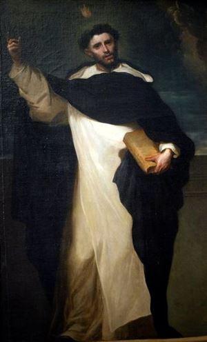 San Vincenzo Ferreri (23 gennaio 1350 - 5 aprile 1419) ritratto dal pittore asturiano Juan Carreño de Miranda (da Wikipedia). Nelle altre foto del servizio, dell'agenzia Ansa, il pranzo di Natale per persone in difficoltà organizzato nel 2019 dalla Comunità di Sant'Egidio.