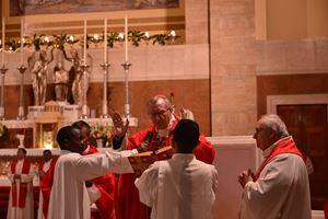 Il cardinale Pietro Parolin, 65 anni, ASegretario di Stato della Santa Sede presiede la solenne concelebrazione eucaristica in occasione del'anniversario della morte di madre Tecla Merlo, il 5 febbraio 2020, nella Basilica Maria Regina degli Apostoli, a Roma,
