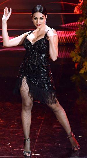Georgina Rodriguez alla 70a edizione del Festival di Sanremo. Foto Ansa.
