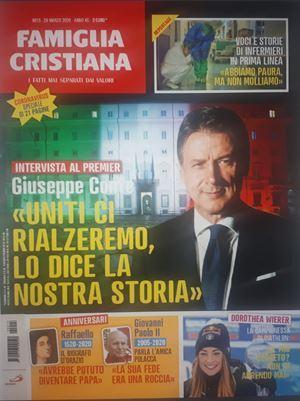 La copertina di Famiglia Cristiana in uscita domani con l'intervista a Giuseppe Conte.