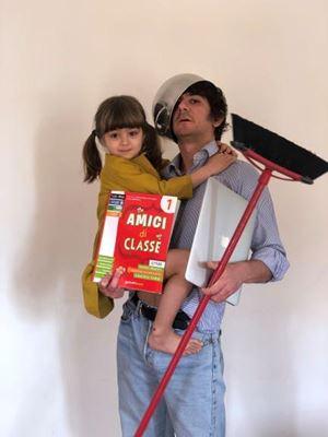 Francesco Mandelli con la figlia