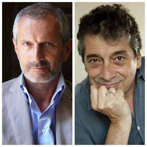 Gli scrittori Gianrico Carofiglio e Sandro Veronesi