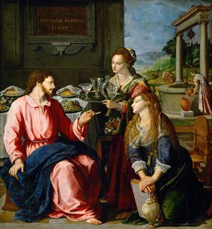 """Alessandro Allori, Cristo nella casa di Marta, (1605, Kunsthistorisches Museum, Vienna, <a href=""""https://commons.wikimedia.org/wiki/File:Alessandro_Allori_002.jpg"""">Wikimedia Commons</a>)"""