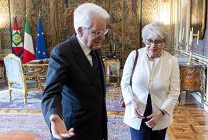 Maria Gabriella Carnieri Moscatelli con il presidente Sergio Mattarella al Quirinale il 13 maggio del 2019 (foto Ansa).
