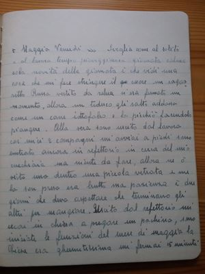 Una pagina del diario di Cornelio Tamborini