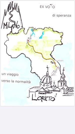 La maglietta che indosseranno nell'ultimo tratto verso Loreto