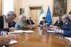 Annamaria Furlan durante un incontro tra sindacati e governo Conte