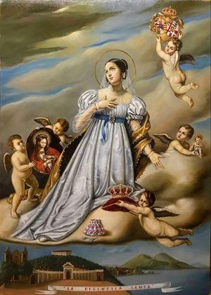 Il nuovo quadro raffigurante la beata Maria Cristina di Savoia (Cagliari, 14 novembre 1812 - Napoli, 31 gennaio 1836)  dipinto da Gioacchino (Jack) Vellutino ed esposto nella chiesa di Santa Chiara a Napoli, che custodisce le spoglie mortali della sovrana.
