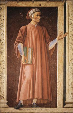 Andrea del Castagno (1421-57), Dante Alighieri, affresco strappato senza cornice, Firenze, Galleria degli Uffizi. Foto Ansa.