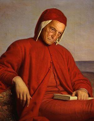 Un dipinto raffigurante Dante Alighieri in esilio, opera di Domenico Peterlini (o Petarlini, 1822-1891), archivio di Palazzo Pitti. Foto Ansa.
