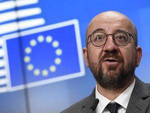 """Charles Michel, Presidente del Consiglio Europeo in carica, ha dichiarato al vertice UE: """"Non tolleriamo che si giochi alla roulette russa con la vita dei civili"""". L' Ue ha adottato sanzioni contro la Bielorussia, tra cui il divieto per le compagnie aeree bielorusse di volare nello spazio europeo (foto Ansa)"""