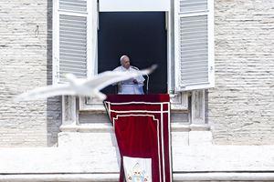 Francesco all'Angelus di domenica scorsa (Ansa)